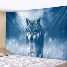 Blue-eyed Wolf Holy Animals Tapestry Decoration Wall Hanging Lion Tiger Pattern Background Home Textile