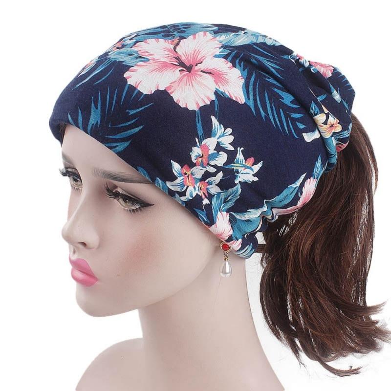 Floral Print Ponytail Beanie Women Head Scarf Turban Hat Winter Cap Femme Hip Hop Hat Cotton Beanies for Ladies X2
