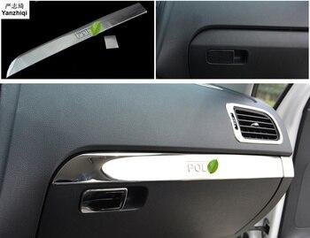 Бесплатная доставка, нержавеющая стальной ящик для хранения, светящийся перчаточный ящик, украшение, наклейки для автомобиля, Стайлинг для 2011-2017 Volkswagen VW POLO