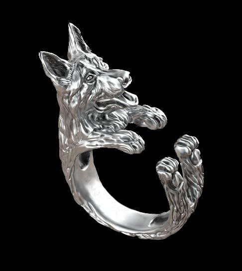 1pcs retro punk german shepherd ring free size hippie animal german shepherd dog ring summer jewelry