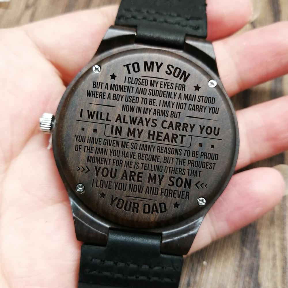 W1800-2 To My Son-I Love You Forever Engraved Wooden Watch Luxury Wrist Men Watch Custom Personalized Watches Gifts