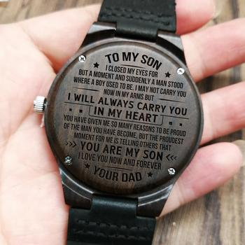 W1800-2 To My Son-I Love You Forever Engraved Wooden Watch Luxury Wrist Men Watch Custom Personalized Watches Gifts i love mommy 2 personalized ornament