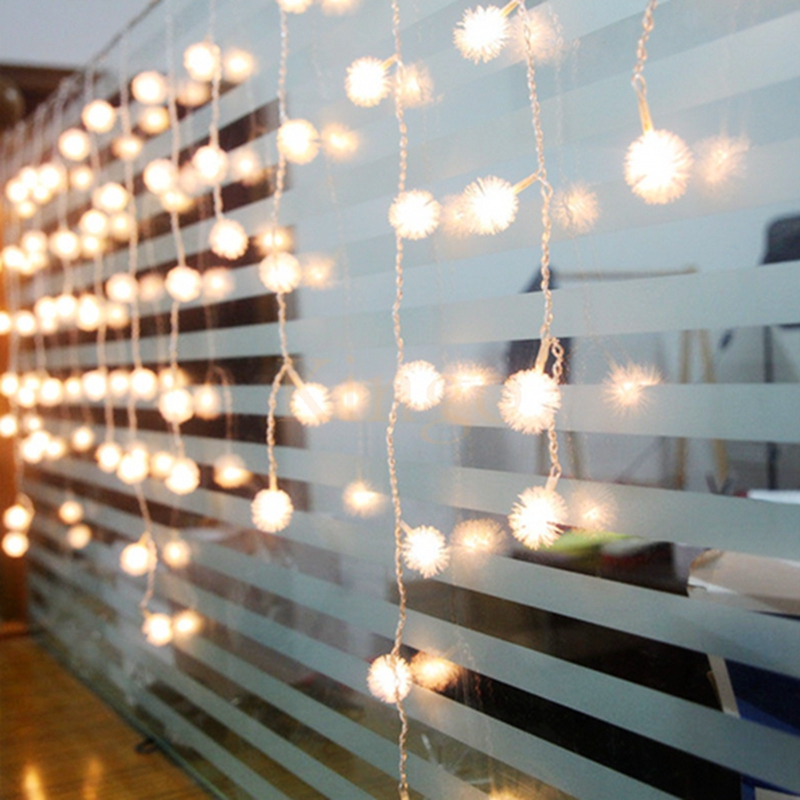 220v 50m String Light Cotton Snow Ball Light Shape