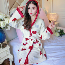 hot sale 2018 Winter Bathrobe Women Bath Flannel Warm Hooded Robe Sleepwear Womens Robes Coral Velvet