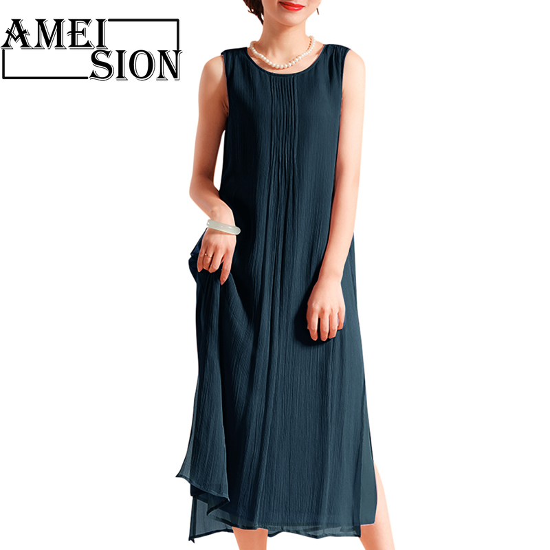 Ameision Women Dress Solid color crew neck sleeveless pleated Oversized robe female Bohemian Beach Loose Midi Dresses in Dresses from Women 39 s Clothing