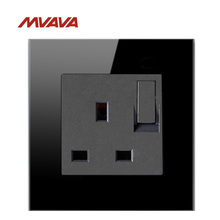 MVAVA 13A Wall Decorative Switched Socket UK/EU Standard Receptacle With 1 Gang Outlet Luxury Black Crystal Free Shipping