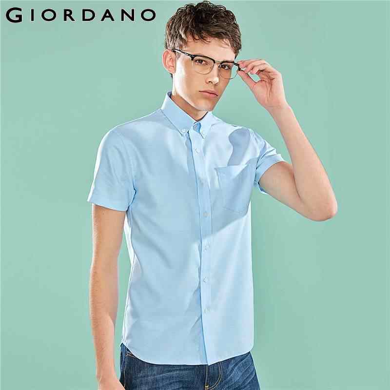 Giordano Men Shirt Men Short Sleeve Wrinkle-free Oxford Cotton Summer Shirt Men Quality Oxford Fabric Turn Down Collar Camisa