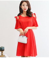 Summer Dress Women Clothing Bodycon Dress Korean Cute Hollow Out Short Sleeve Red Black Dress Fashion
