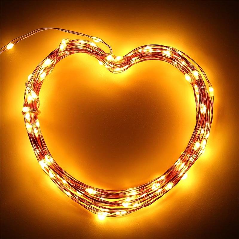 Warm White Solar Garden Fairy Lights: Warm White 120 LED Fairy Starry Copper Wire Lights Outdoor