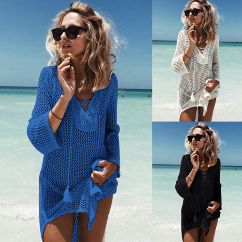 Lace Up Women Beach Dress Bikini Cover Ups Black White Blue Knitted Sarong Cover-Ups Summer Monokini Swimwear Swimsuit