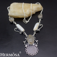 Charm Christmas Gift Natural Biwa Pearl Gold Rutiled Quartz 925 Sterling Silver Necklace For Women Party
