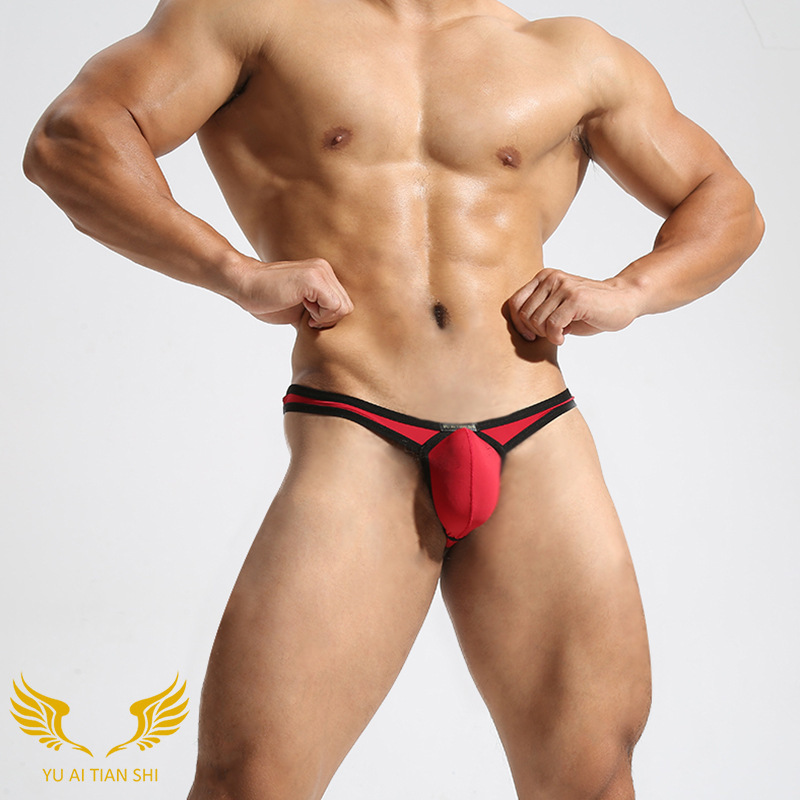Mens thongs and g strings slim sexy men's underwear smooth ice silk thong gay mens sexy ...