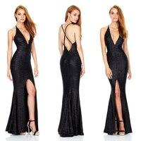 שמלת מזלג פתוחה הרשמי חדש 2017 קיץ ללא שרוולים ללא משענת רצועת V העמוק צוואר ארוך שמלות גב הפתוח clubwear נשים מועדון לילה