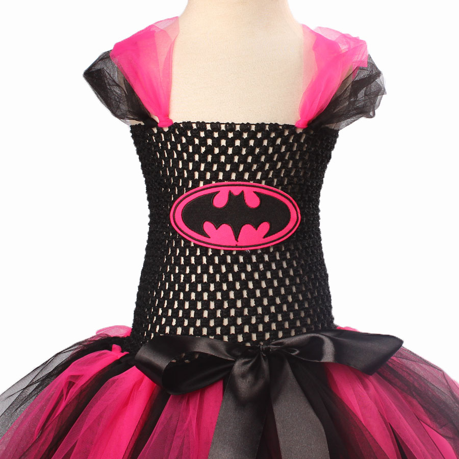 Keenomommy Super Cute Super Hero Tutu Costume Hot Pink Batgirl Girls Tutu Dress with Mask for Cosplay Party Halloween (6)