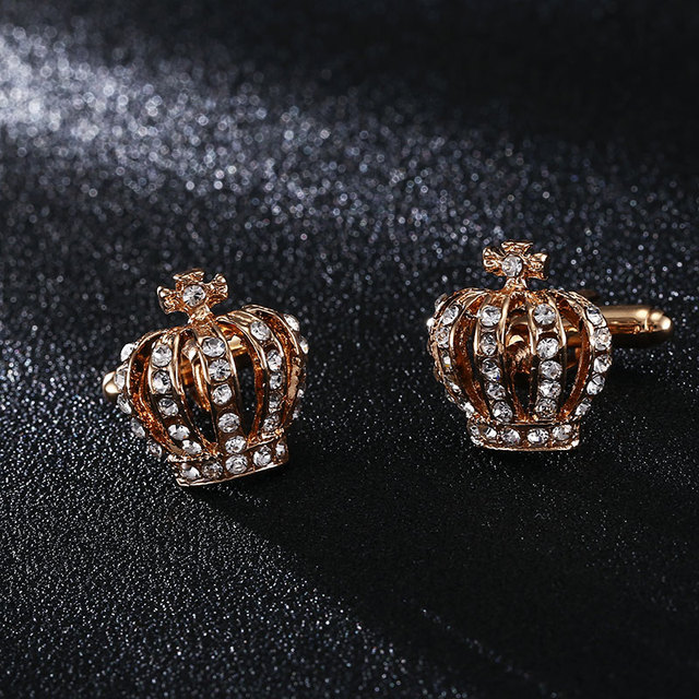 Crown Cufflinks Luxury Elegant Rhinestone Female French Shirt Cuff Links Jewelry
