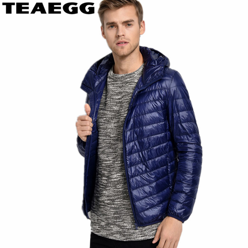 TEAEGG Winter Jackets Mens Navy Ultra Light Down Jacket Men Coat 2017 Chaquetas Hombre Mens Down Jacket Plus Size 4XL 5XL AL105