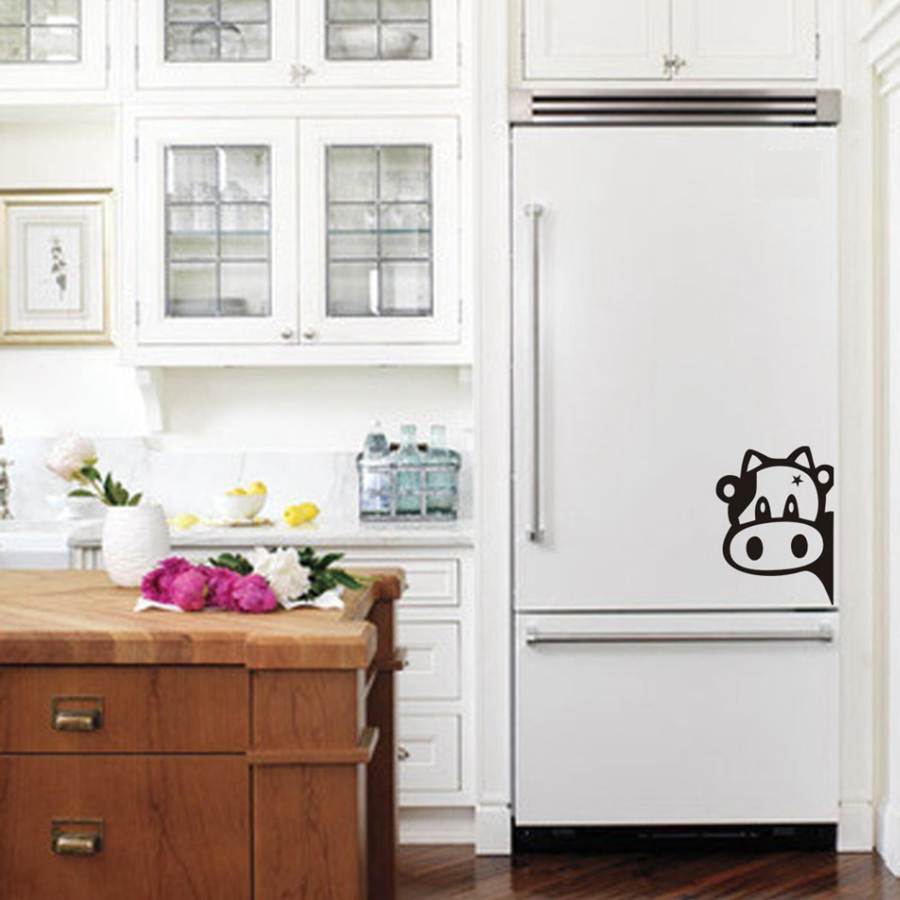 Funny cow kitchen fridge sticker vinyl cow decals for for Best brand of paint for kitchen cabinets with wall art vinyl stickers