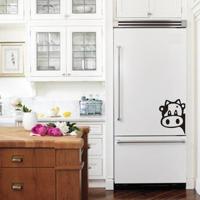 Vaca divertida etiqueta engomada del refrigerador de la cocina, vaca ...