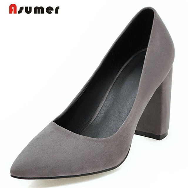 Asumer High heels shoes 8.5cm big size 33-43 wedding bride shoes shallow shallow women pumps flock nubuck leather spring