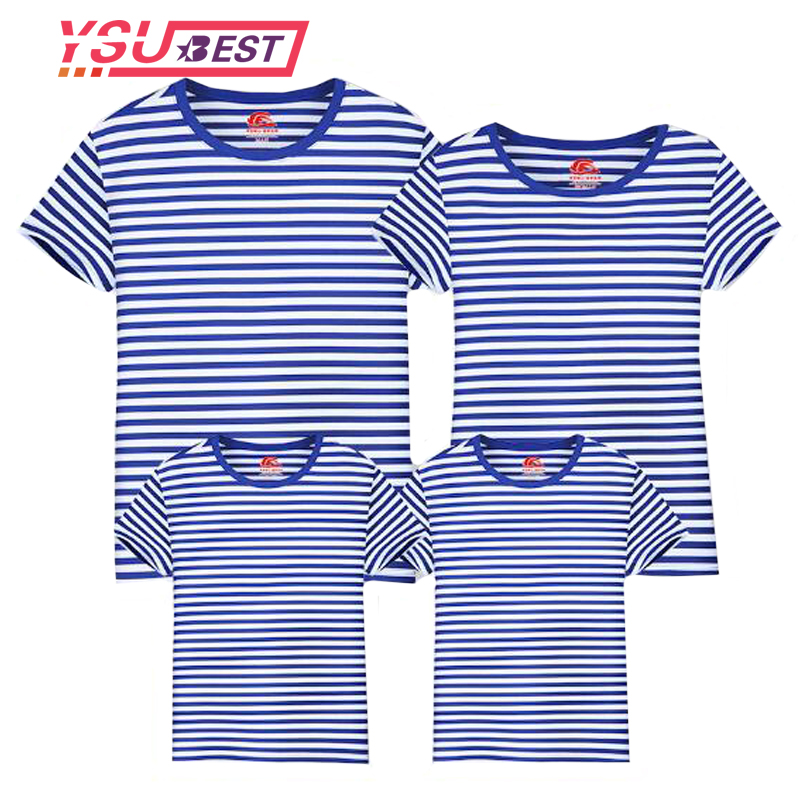 Summer T-Shirt Family Clothing Sailor Striped Dad Son T Shirt Family Look Set Father Mother Daughter Matching Outfits Clothes купить недорого в Москве