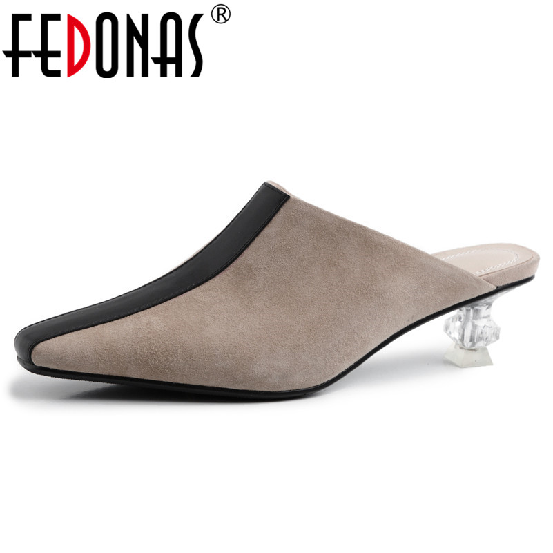 FEDONAS Fashion Vintage Women Pumps Genuine Leather Mules Spring Summer Sandals Pointed Toe High Heels Party Wedding Shoes WomanFEDONAS Fashion Vintage Women Pumps Genuine Leather Mules Spring Summer Sandals Pointed Toe High Heels Party Wedding Shoes Woman