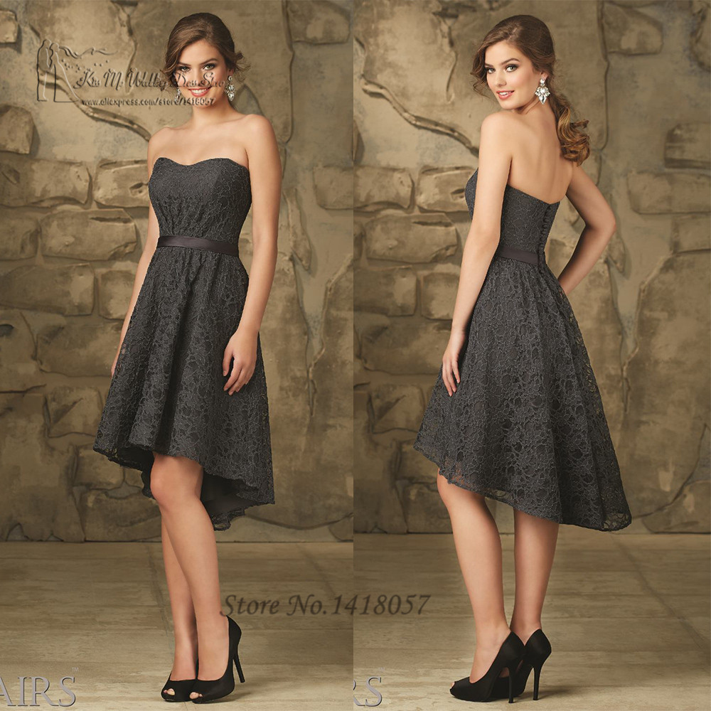Buy Cheap Dark Grey Short Lace Bridesmaid
