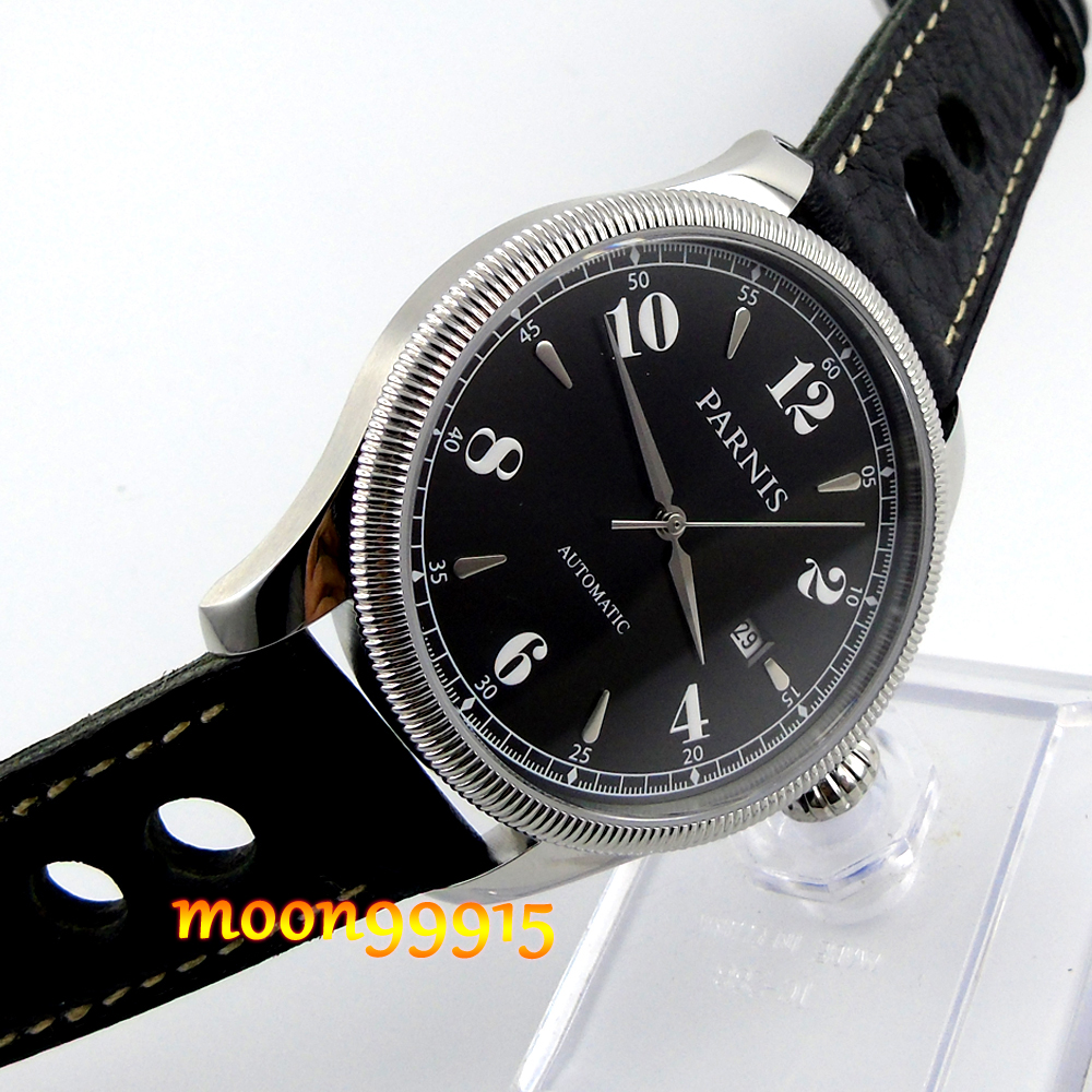 где купить 42mm Parnis black dial Sapphire Glass miyota Automatic mens Watch по лучшей цене