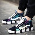 fashion men canvas shoes high top printed thick soled plain shoes lace up casual shoes plimsolls zapatillas deportivas XK121411