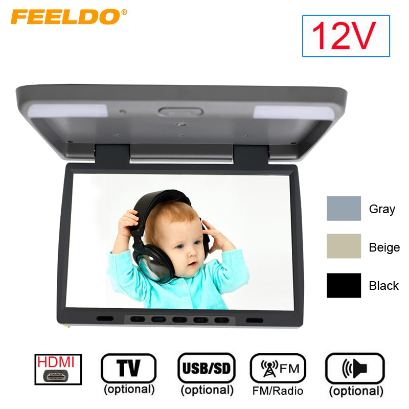 FEELDO DC12V 15.4 Inch Car/Bus TFT LCD Roof Mounted Monitor Flip Down Monitor 2-Way Video Input With HDMI/USB SD/FM/TV/Speaker 13 inch car monitor tft led digital screen car roof mounted monitor dc 12v car monitor 2 way video input flip down monitor