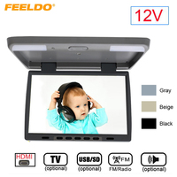 FEELDO DC12V 15.4 Inch Car/Bus TFT LCD Roof Mounted Monitor Flip Down Monitor 2 Way Video Input With HDMI/USB SD/FM/TV/Speaker