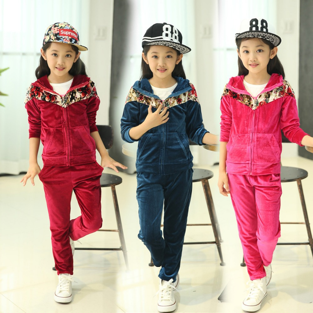 High Quality!Kids Girls Autumn and spring Two piece Suit 2015 New Kids Clothes Children's Gold Velour Sweater Girls Sports Suit spring new kids girls spring dress embroidered two piece suit