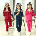 High Quality!Kids Girls Autumn and spring Two piece Suit 2015 New Kids Clothes Children's Gold Velour Sweater Girls Sports Suit