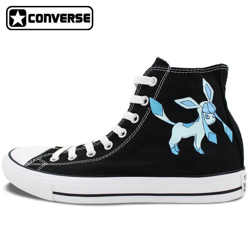 Prix pour Pokemon Aller Chaussures Filles Garçons Converse All Star Hommes Femmes Glaceon Peinte à la main Top All Star Toile Sneaker Unique cadeaux
