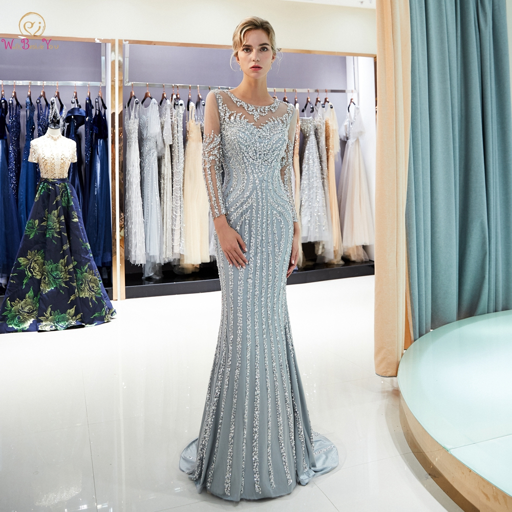 Beaded Evening Dresses Luxury Gray/Champagne Mermaid Crystal Sweep Train Long Sleeves Gray Sheer Neck Prom Formal Party Gown