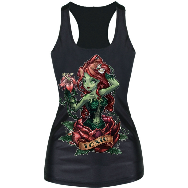 Womens Slim Tank Top Cartoon Rose Girl Halloween Hot Sale -9925