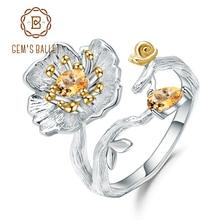 Gems BALLET 0.65Ct 천연 황수정 보석 반지 925 스털링 실버 수제 피는 양귀비 꽃 반지 여성을위한 Bijoux