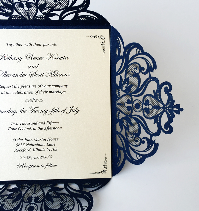 2016 New Wedding Invitations, Bridal Shower Blue Lace Invitation ...