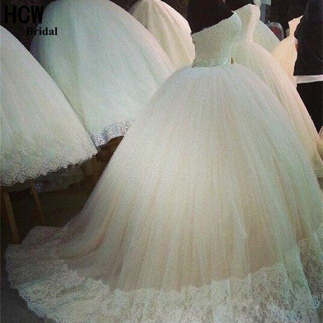 Wonderful 2017 Fluffy Wedding Dress Strapless Lace Top White Tull Arabic Bridal Dresses Custom Made Ball