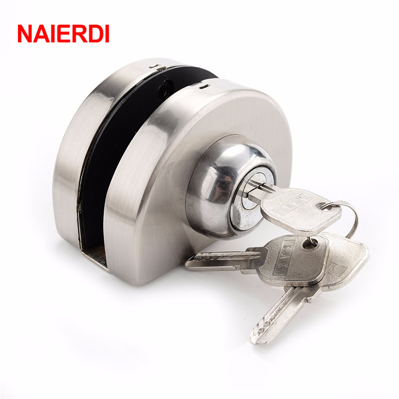 NAIERDI Single Glass Door Lock 304 Stainless Steel Double Open Frameless Door Latches Hasps For 10-12mm Thickness Furniture high quality glass door latches lock bolt 8 12mm glass no drilling for bathroom double single glass door frameless glass door