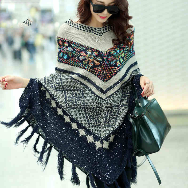 Free shipping New Fashion 2016 Autumn Winter Women Oversized Wool Pullovers Sweaters Bat Sleeve  shawl poncho