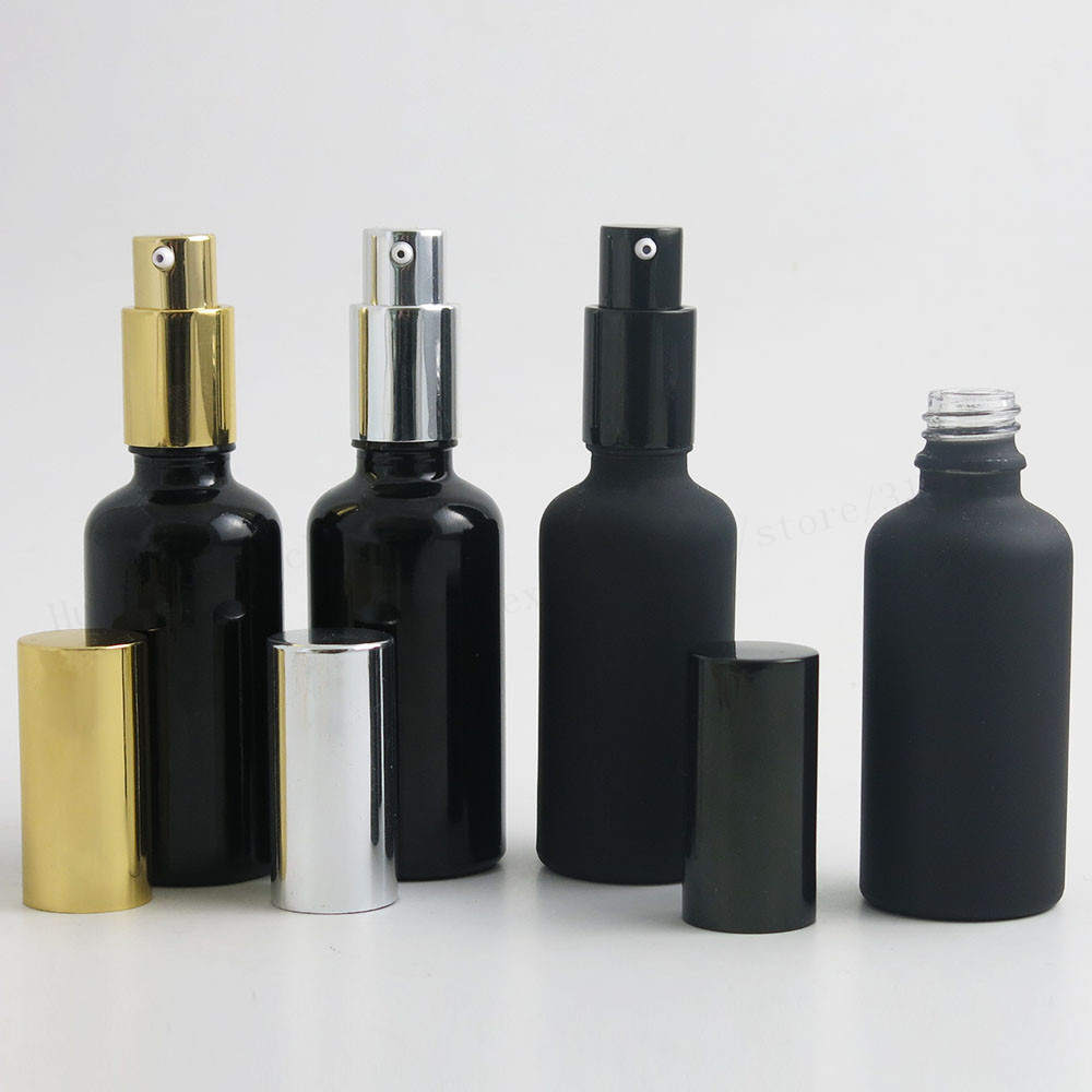 200 x 50ml Frost Black Shining Black Refillable Glass Lotion Pump Bottles 5/3 Matt Black Cosmetic Containers