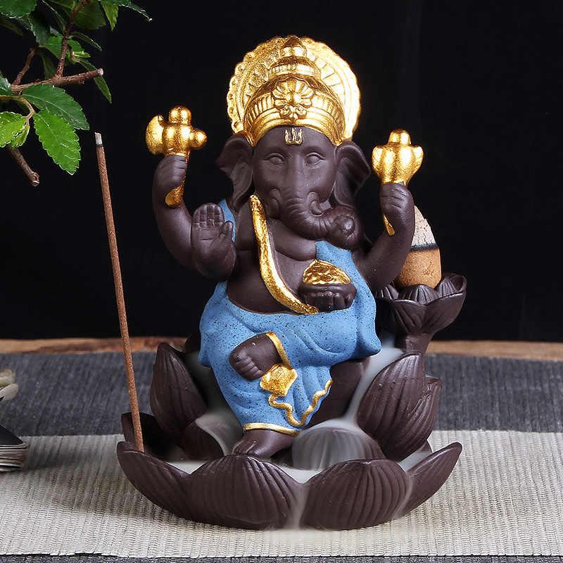 Голова слона Бог Ганеша фиолетовый песок лотоса типа обратного потока благовония горелка с Буддой статуя Таиланд индийские буддистские благовония палочки