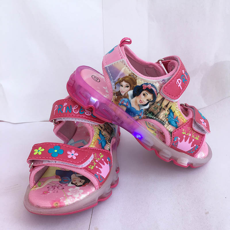 girls Princess princess sandals with light snow White Soft Leather Flexible fashion LED girls lace shoes