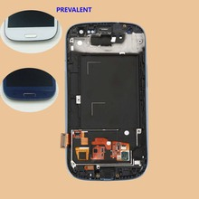for Samsung Galaxy S3 III i9300 Touch Screen Panel Digitizer Sensor Glass + LCD Display Monitor Panel Module Assembly + Frame