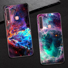 Goterfly glass phone case for Samsung Galaxy A9 2018 Galaxy A9S  painted protective back cover cases Samsung A9 pro 2018 A920 case for samsung galaxy a9 2018 case electroplated glitter fish scale soft silicon phone cover for samsung a9 2018 a920 cases