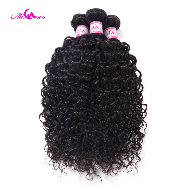 Ali Coco Hair Brazilian Water Wave Weave Bundles 3PCS 100 Human Hair Weaves Natural Color Remy