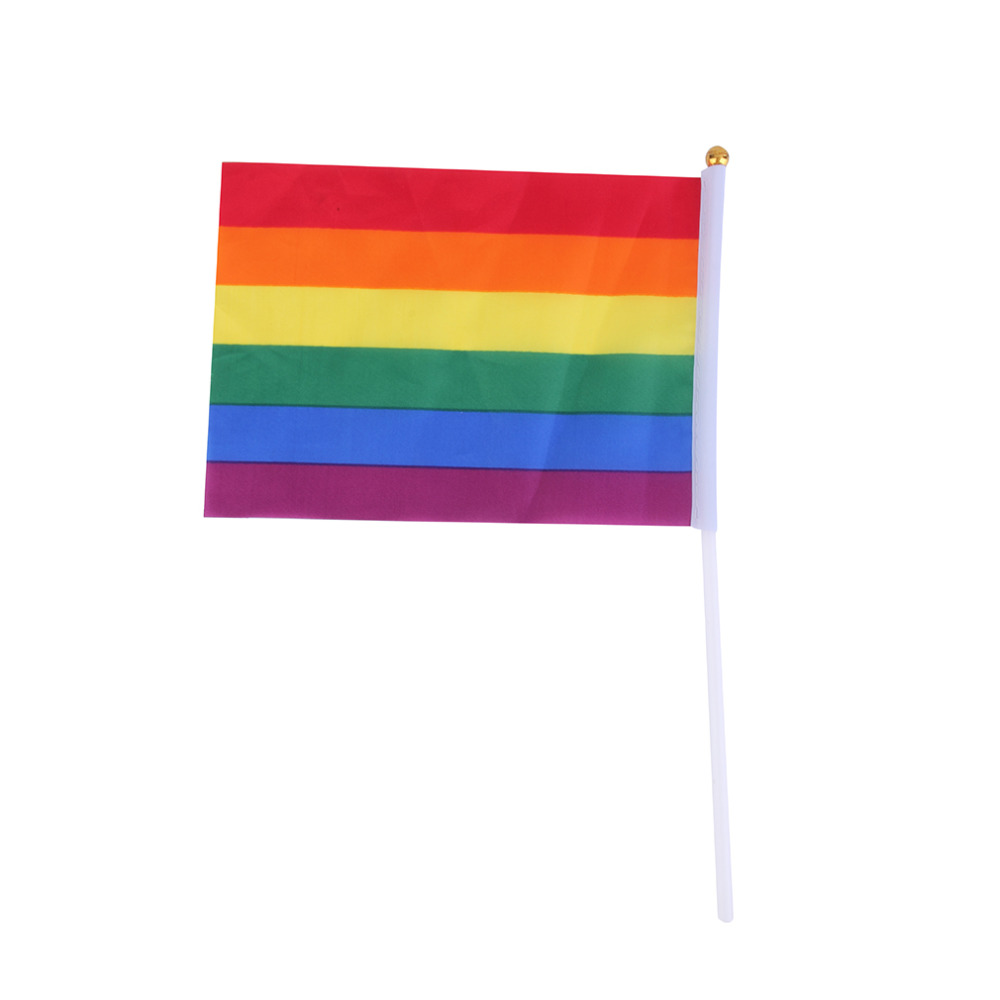 ! 14 x 21cm Rainbow Flag Polyester for Lesbian Gay Bisexual Transgender