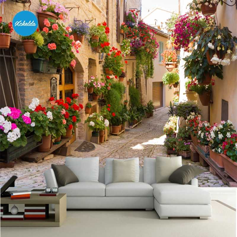 Xchelda Custom 3d Wallpaper Design Street Flower Photo Kitchen