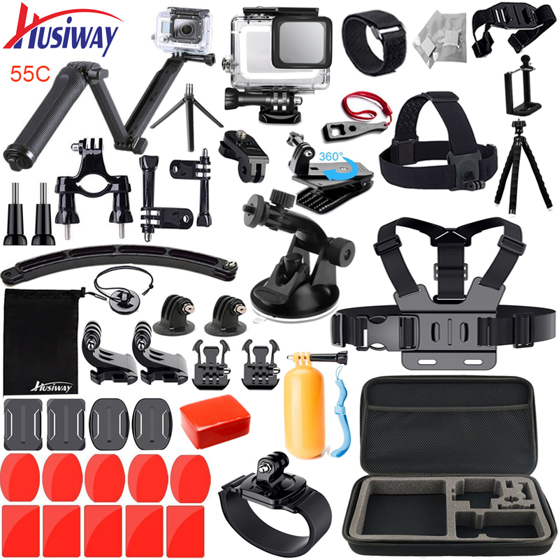 Husiway Accessories Kit for Gopro / Go pro hero 7 6 5 Waterproof Housing Set for Gopro Hero5 6 7 Black Camera 55A