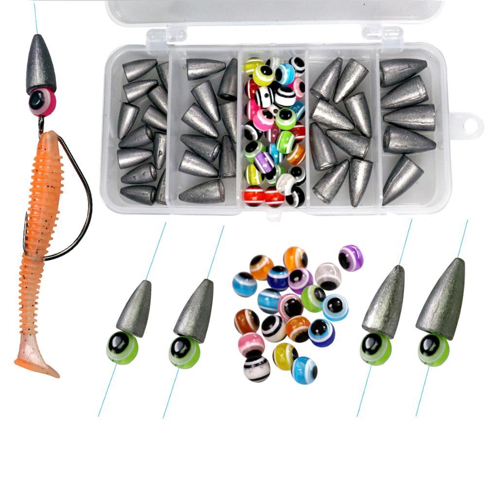 64pcs/box Fishing Lead Weight Mixed Color Fishing Eye Beads Fishing Accessories DIY Kit Sinker For Fishing